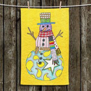 Unique Bathroom Towels   Marley Ungaro - Snowman Yellow   Snowman Winter Childlike Holidays