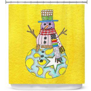 Premium Shower Curtains | Marley Ungaro - Snowman Yellow | Snowman Winter Childlike Holidays