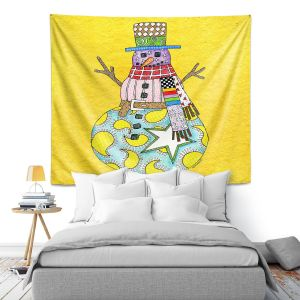 Artistic Wall Tapestry | Marley Ungaro - Snowman Yellow | Snowman Winter Childlike Holidays