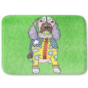 Decorative Bathroom Mats | Marley Ungaro - Springer Spaniel Green | dog collage pattern quilt