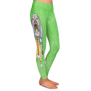 Casual Comfortable Leggings | Marley Ungaro - Springer Spaniel Green | dog collage pattern quilt