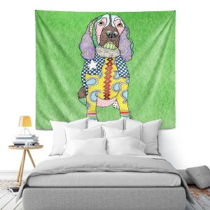 Artistic Wall Tapestry | Marley Ungaro - Springer Spaniel Green | dog collage pattern quilt