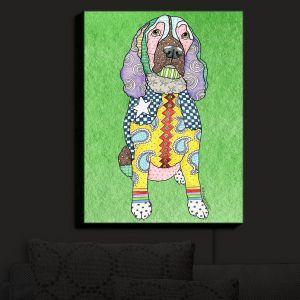 Nightlight Sconce Canvas Light | Marley Ungaro - Springer Spaniel Green | dog collage pattern quilt