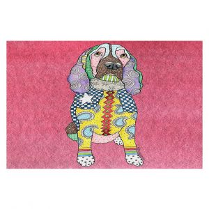 Decorative Floor Covering Mats | Marley Ungaro - Springer Spaniel pink | dog collage pattern quilt