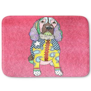 Decorative Bathroom Mats | Marley Ungaro - Springer Spaniel pink | dog collage pattern quilt