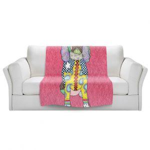 Artistic Sherpa Pile Blankets   Marley Ungaro - Springer Spaniel pink   dog collage pattern quilt