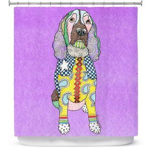 Premium Shower Curtains | Marley Ungaro - Springer Spaniel Dog Violet
