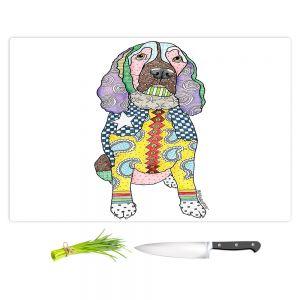 Artistic Kitchen Bar Cutting Boards | Marley Ungaro - Springer Spaniel White | dog collage pattern quilt