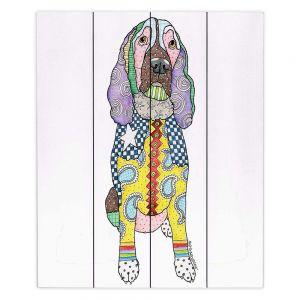 Decorative Wood Plank Wall Art | Marley Ungaro - Springer Spaniel White | dog collage pattern quilt
