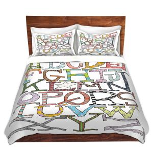Artistic Duvet Covers and Shams Bedding | Marley Ungaro - Starbrite Alphabet | letter art typography