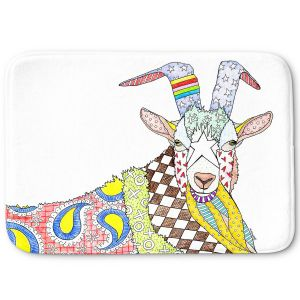 Decorative Bathroom Mats | Marley Ungaro - Billygoat White | animal creature nature collage