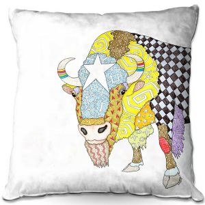 Throw Pillows Decorative Artistic   Marley Ungaro - Bison White   animal creature nature collage
