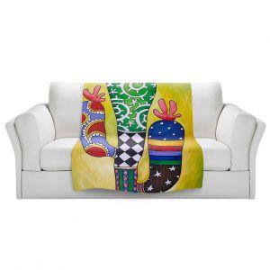 Artistic Sherpa Pile Blankets | Marley Ungaro - Starbrite Cactus | collage nature desert plant