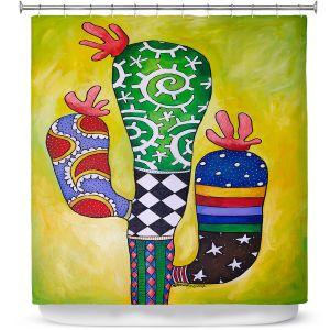 Premium Shower Curtains | Marley Ungaro - Starbrite Cactus | collage nature desert plant