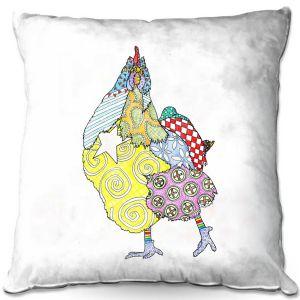 Throw Pillows Decorative Artistic   Marley Ungaro - Chicken White   animal creature nature collage