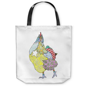 Unique Shoulder Bag Tote Bags | Marley Ungaro - Chicken White | animal creature nature collage