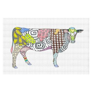 Decorative Floor Covering Mats | Marley Ungaro - Cow White | animal creature nature collage