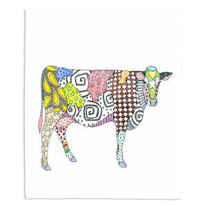 Decorative Fleece Throw Blankets | Marley Ungaro - Cow White | animal creature nature collage