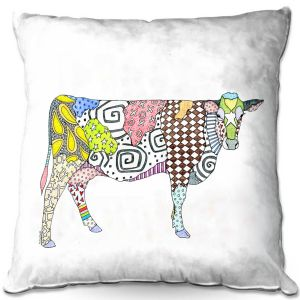 Throw Pillows Decorative Artistic | Marley Ungaro - Cow White | animal creature nature collage