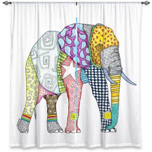 Decorative Window Treatments | Marley Ungaro - Elephant White | animal creature nature collage
