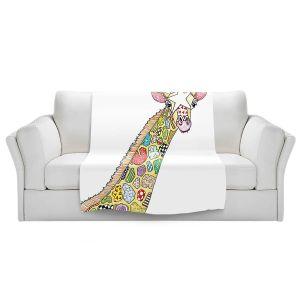 Artistic Sherpa Pile Blankets   Marley Ungaro - Giraffe White   animal creature nature collage