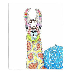 Artistic Sherpa Pile Blankets | Marley Ungaro - Llama White | animal creature nature collage