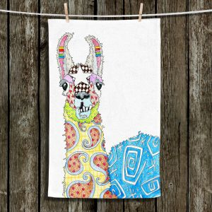 Unique Hanging Tea Towels | Marley Ungaro - Llama White | animal creature nature collage