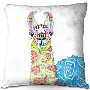 Decorative Outdoor Patio Pillow Cushion | Marley Ungaro - Llama White | animal creature nature collage