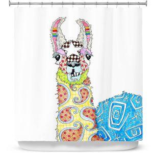 Premium Shower Curtains | Marley Ungaro - Llama White | animal creature nature collage