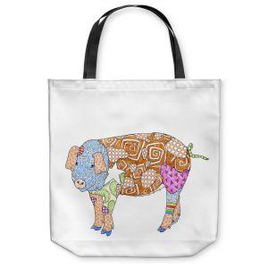 Unique Shoulder Bag Tote Bags | Marley Ungaro - Pig White | animal creature nature collage
