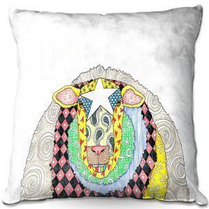 Decorative Outdoor Patio Pillow Cushion | Marley Ungaro - Sheep White | animal creature nature collage