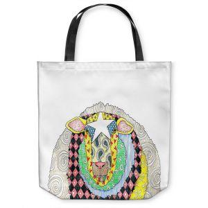 Unique Shoulder Bag Tote Bags | Marley Ungaro - Sheep White | animal creature nature collage