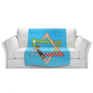 Artistic Sherpa Pile Blankets   Marley Ungaro - Star of David Aqua   Star of David Holidays Channuka