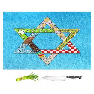 Artistic Kitchen Bar Cutting Boards | Marley Ungaro - Star of David Aqua | Star of David Holidays Channuka