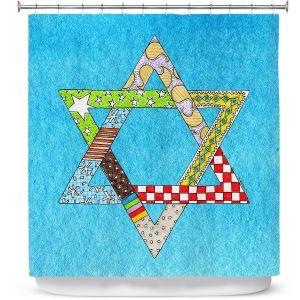 Premium Shower Curtains | Marley Ungaro - Star of David Aqua | Star of David Holidays Channuka