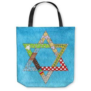 Unique Shoulder Bag Tote Bags | Marley Ungaro - Star of David Aqua | Star of David Holidays Channuka