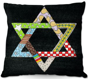 Throw Pillows Decorative Artistic | Marley Ungaro - Star of David Black | Star of David Holidays Channuka