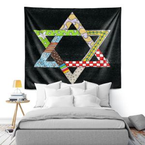 Artistic Wall Tapestry | Marley Ungaro - Star of David Black | Star of David Holidays Channuka