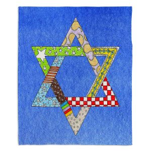 Artistic Sherpa Pile Blankets | Marley Ungaro - Star of David Blue | Star of David Holidays Channuka