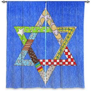 Decorative Window Treatments | Marley Ungaro - Star of David Blue | Star of David Holidays Channuka