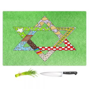 Artistic Kitchen Bar Cutting Boards | Marley Ungaro - Star of David Green | Star of David Holidays Channuka