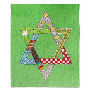 Artistic Sherpa Pile Blankets | Marley Ungaro - Star of David Green | Star of David Holidays Channuka