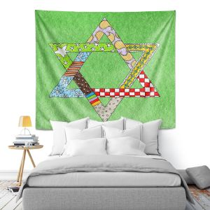 Artistic Wall Tapestry | Marley Ungaro - Star of David Green | Star of David Holidays Channuka