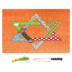 Artistic Kitchen Bar Cutting Boards | Marley Ungaro - Star of David Orange | Star of David Holidays Channuka