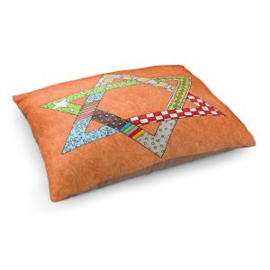 Decorative Dog Pet Beds | Marley Ungaro - Star of David Orange | Star of David Holidays Channuka