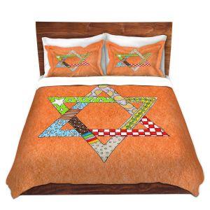 Artistic Duvet Covers and Shams Bedding | Marley Ungaro - Star of David Orange | Star of David Holidays Channuka
