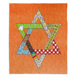 Artistic Sherpa Pile Blankets | Marley Ungaro - Star of David Orange | Star of David Holidays Channuka