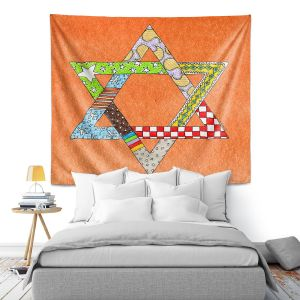 Artistic Wall Tapestry | Marley Ungaro - Star of David Orange | Star of David Holidays Channuka