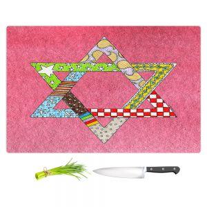 Artistic Kitchen Bar Cutting Boards | Marley Ungaro - Star of David Pink | Star of David Holidays Channuka