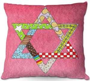 Decorative Outdoor Patio Pillow Cushion | Marley Ungaro - Star of David Pink | Star of David Holidays Channuka